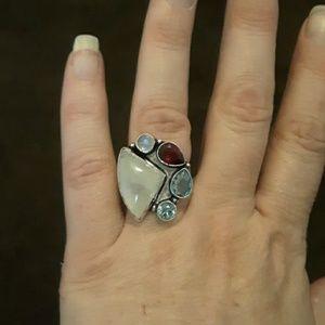 Rainbow Moonstone, Garnet, Blue Quartz Silver Ring